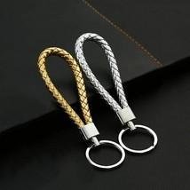 Unisex Keychain Fashion Braided Faux Leather Car Key Ring Bag Hanging De... - $8.05