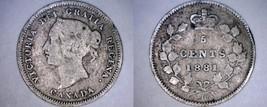 1881-H Canada 5 Cent World Silver Coin - Canada - Victoria - $19.50