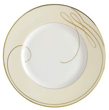"Waterford Ballet Ribbon Gold Champagne 9"" Accent Salad Plate Made in Eng... - $32.90"