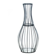 "*18243B  Tall 15"" Clear Glass & Metal Wrap Frame Accent Vase - $29.65"