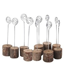 Jimcoser Rustic Real Wooden Base Place Card Holders Iron Wire Picture Pi... - £7.26 GBP