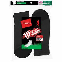 10-Pack Hanes Boys Ankle EZ Sort Socks - Black or White - Sizes M-L - $15.19