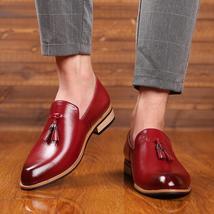 Handmade Men's Red Leather Slip Ons Loafer Tassel Shoes image 4