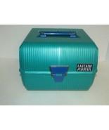 Vintage 80s Sassaby Makeup Train Travel Case box Jewelry Organizer Green... - $19.79