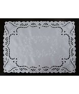 """1 Pcs 16x72"""" Rectangle White Solid Embroidered Floral Placemats ELN06 - $36.17"""