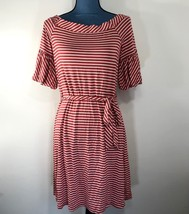 Spense Women's Red White Stripe T-Shirt Dress Boat Neck Tie Waist Size S - $19.34