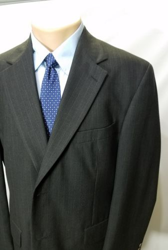STAFFORD MEN'S SPORT COAT PINSTRIPE BLACK PURE WOOL 2 BUTTONS SINGLE VENTED 44R