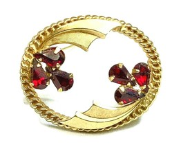 Vintage signed Catamore 120+12kGF Gold Oval Wreath Brooch w/Garnet Red C... - $34.64