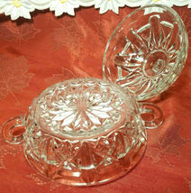 Vintage Clear Pressed Glass Clear Covered Candy Dish With Handles image 9