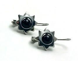 Vintage 925 CI THAILAND Black Onyx Sterling Silver Star Pierced Earrings - $28.71