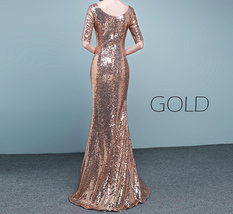 Half Sleeve Fit Gold Maxi Sequin Dress Wedding Party Maxi Gold Sequin Dress Gown image 10