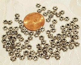 25pcs. Fine Pewter Daisy Spacer Beads 4x4x2mm image 3