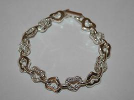 Avon Silvertone Crystal Open Heart Bracelet  J345 image 3