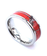 Red Camo Japanese Cherry Blossom Stainless Steel Ring Unisex Wedding Ban... - $19.99
