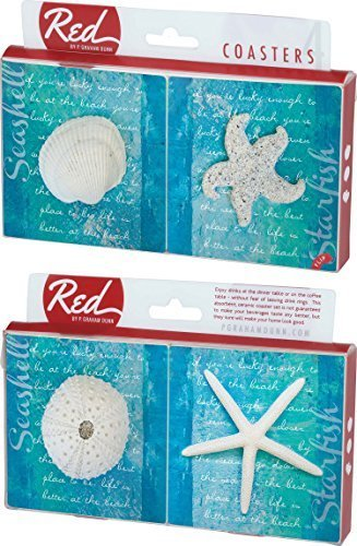 Star Fish Sea Shell on Blue 4 Piece Absorbent Ceramic Coaster Set