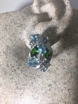 Genuine Blue Topaz Chrome Diopside 925 Sterling Silver Vintage Earrings - $178.20