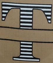 Kate Winston Brand Brown Burlap Monogram Black White T Garden Flag image 3
