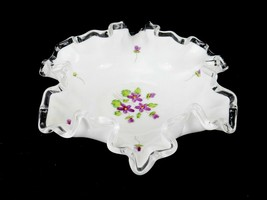 Fenton Silver Crest Painted Bowl Crimped / Ruffled Candy Dish,Painted Vi... - $17.59