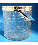 Mid Century Glass Ice Bucket 1950s Faceted Lead Crystal Silver Fittings ... - $38.00