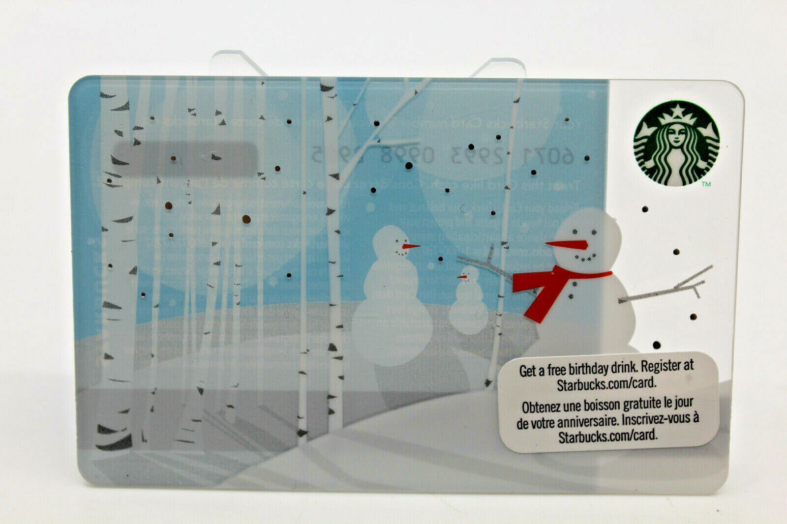Primary image for Starbucks Coffee 2011 Gift Card Snowman Winter Snow Trees White Zero Balance