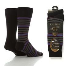 2 Paires Chaussettes Homme SOCKSHOP Noir / Violet Triple Rayures Coton 4... - $8.91