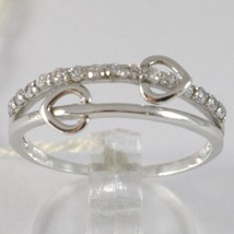 White Gold Ring 750 18K, Veretta Double Heart With Zircon, Made IN Italy image 1