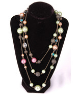 "Long Chain Necklace-Beaded Dangle Baubles Colorful-60""-Costume Jewelry - $21.49"