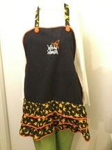 "HALLOWEEN Apron - ""Witchy Woman"" Black Orange Stars & Moons Halloween Ki... - $12.82"