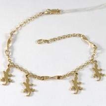 Bracelet En Or Jaune 750 18K Avec Gecko Pendentif, Pendentifs, Rolo Et Spirale - $548.37