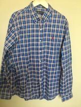 Ralph Lauren Mens Blue Plaid Button Up Shirt Cotton Size XL LS - $22.00