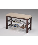 Walnut / Beige Vinyl With Chrome Shoe Rack Organizer & HallwayBench - $64.95