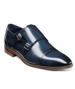 Men's Shoes Stacy Adams Bayne Cap Toe Double Monk Ink Blue 25347-403 - £70.50 GBP