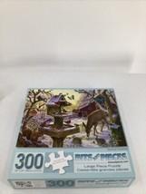 Bits And Pieces Sunrise Feasting Puzzle 300 Pieces Deer Cardinals Birdhouse - $8.59