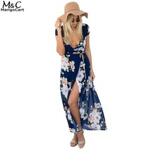 FANALA Summer Dress Women 2017 Sexy Chiffon Long Dresses Split V Neck Hi... - $32.00