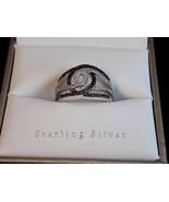 Ladies STERLING SILVER RING with Black & White Diamonds 5.5 grams JWBR Sz 7 - $116.77