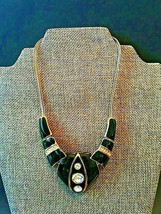 Vintage Black Enamel and Gold Tone with Rhinestones Collar Necklace - $13.00