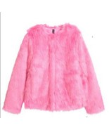 H & M Pink Faux Fur Jacket Sz 14 - $48.00