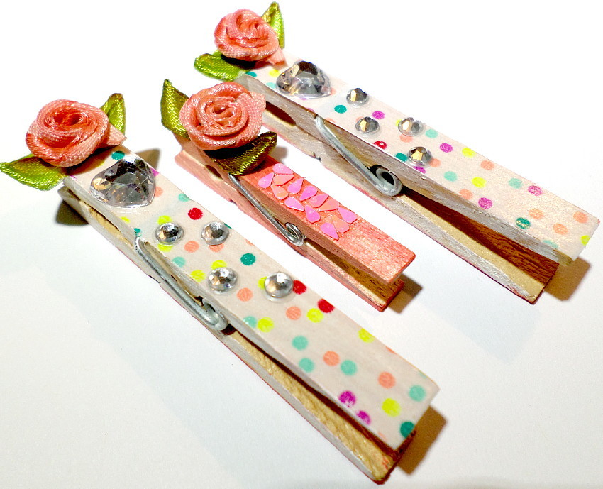 Handmade Clothespin Clips, Rose Journal Markers, Spring Clips For Organization