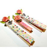 Handmade Clothespin Clips, Rose Journal Markers, Spring Clips For Organi... - $6.99