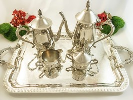 Vintage Silver Plate Coffee Tea Set With Tray T... - $150.00