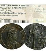 Valentinian II Empereur Captive. NGC Certifié XF Rare Æ2 Big Ancien Roma... - $314.09