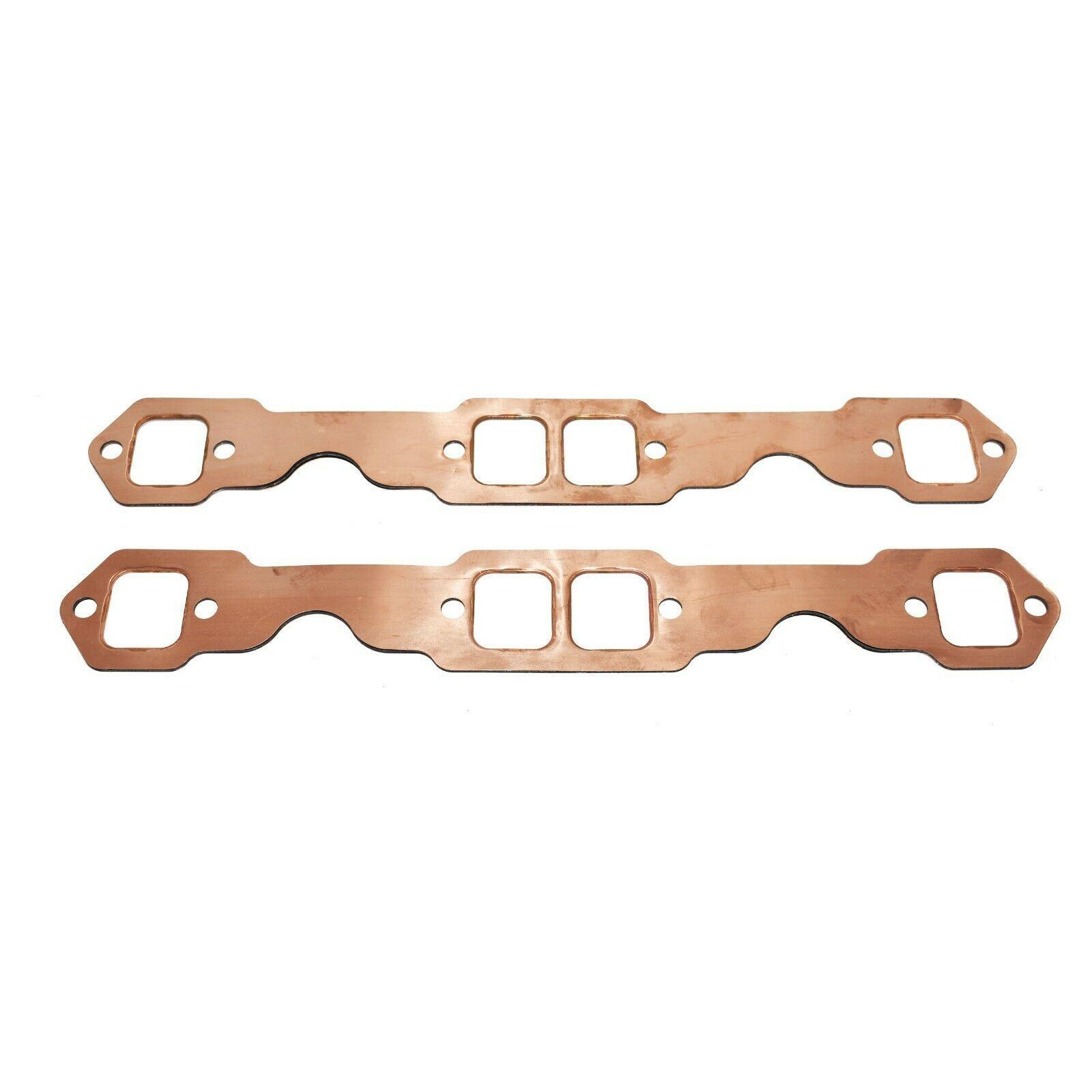SBC Rectangle Port Copper Header Exhaust Gaskets Reusable Chevy 305 327 350 383