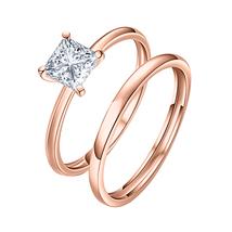 8mm Princess Cut Solitaire Diamond 14k  Rose Gold Wedding Band Bridal Ring   - $73.09