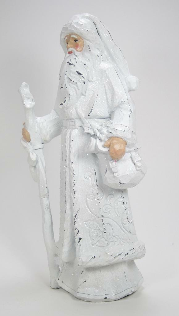 "Primary image for 12"" Tall Winter White Santa Claus Figurine with Staff Christmas Decor"