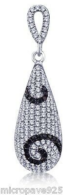 Black and White Cubic Zirconia With Pave Setting Pendant Sterling Silver 925