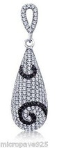 Black and White Cubic Zirconia With Pave Setting Pendant Sterling Silver... - $40.84
