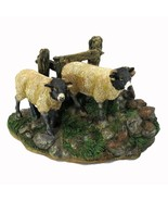 Dalesbred Breed Black White Sheep Pair Figurine Sculpture New - $29.65