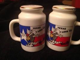 "Texas...I Love Ya TexaDitto Salt & Pepper Shakers Souvenir 2.5"" Tall Han... - $6.98"