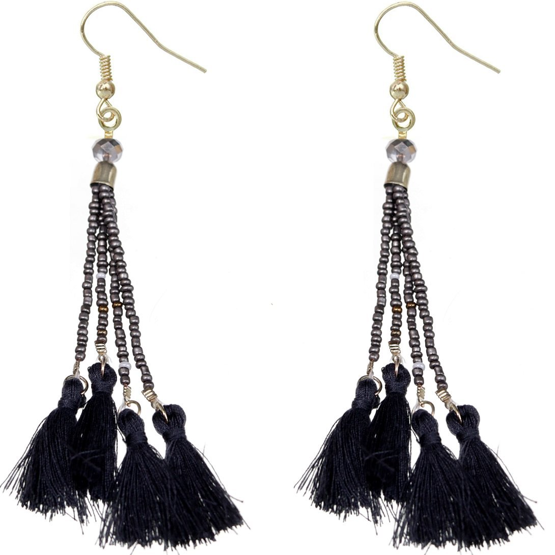 Primary image for Black Gray Beaded Sequin Tassel Dangle Earrings