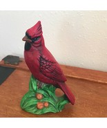Vintage Vintage Nicely Painted Red Cardinal Bird Perched on Grass Cerami... - $12.19